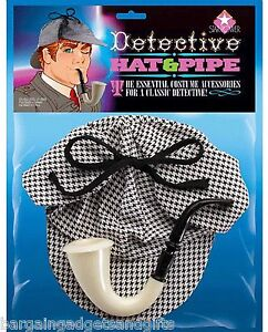 SHERLOCK-HOLMES-DEERSTALKER-HAT-PIPE-FUNNY-JOKE-FANCY-DRESS-MENS-UNUSUAL-GIFT