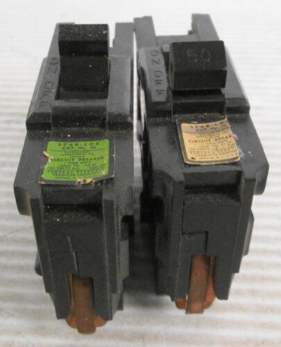 Mixed lot of (2) Federal Pacific Type NA 1P Circuit Breakers (1) 40A (1) 50A