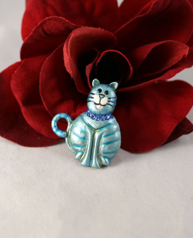 Adorable Blue Enamel & Rhinestone Kitty Cat  Pin Brooch  CAT RESCUE