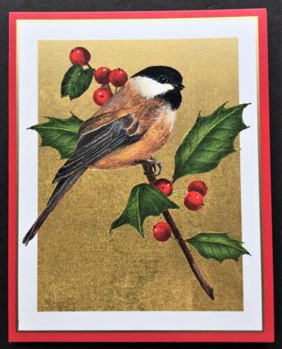 Caspari Christmas Holiday Cards SET Of 4 SMALL Colonial Williamsburg Chickadee