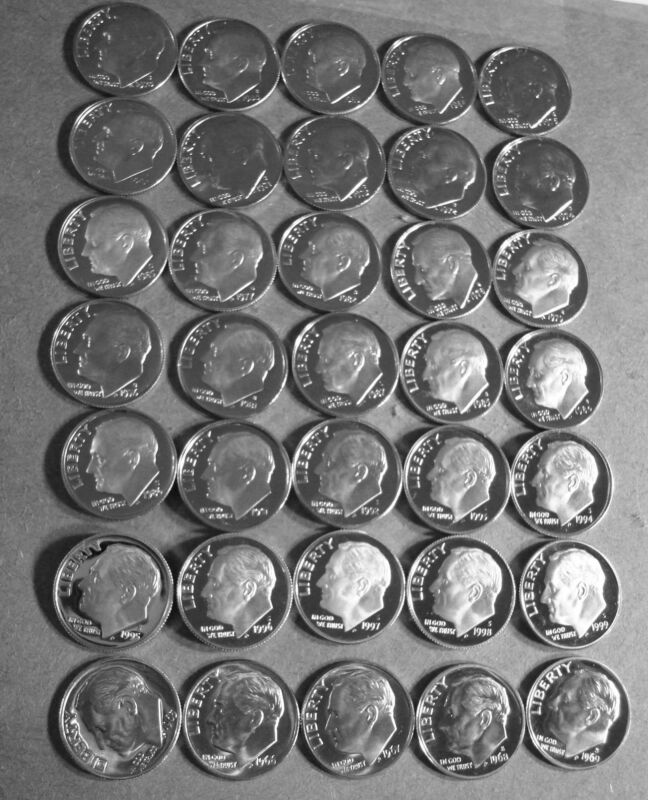 "# 47 NEW DIMES 1965 TO 2010-S  ""FORTY-SEVEN YEARS"" PROOF DEEP CAM ROOSEVELT DIME"