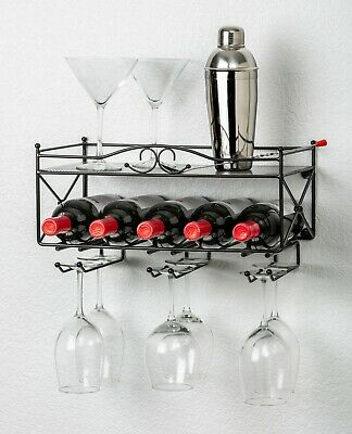 Mango Steam Wall-Mounted Wine Rack with Shelf and Stemware Glass -