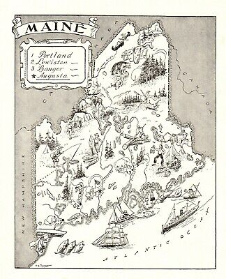 1950s Antique MAINE State Map Vintage Animated Picture Map of MAINE BW 6805