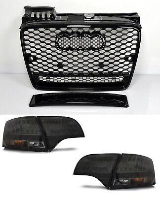 Ecke Vorne Schwarz Leder (Für Audi A4 B7 04-08 RS4 Look Wabengrill + Led Rückleuchten Stoßstange Diffuser)