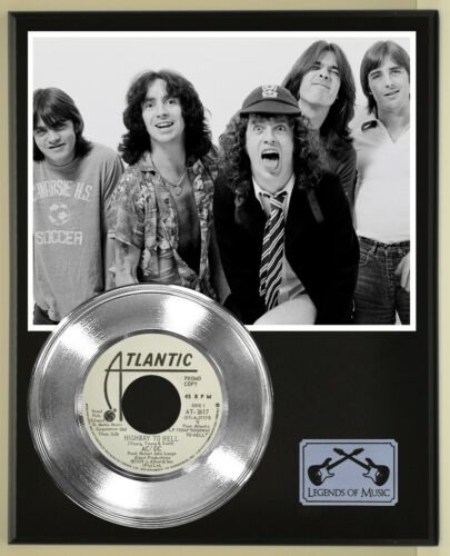 """AC/DC """"Highway To Hell"""" Silver Record Display Wood Plaque"""