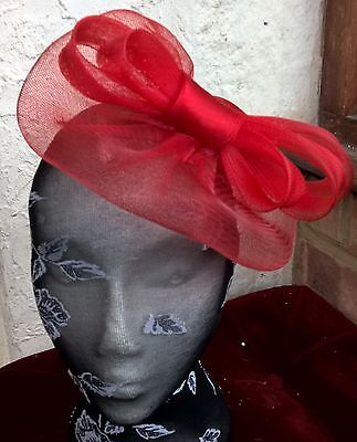 bright red fascinator millinery burlesque wedding hat ascot race bridal 1