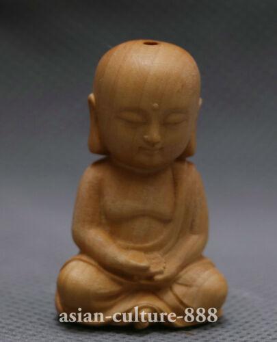 Chinese Boxwood Wood Hand Carving Ksitigarbha Boddhisattva Buddha Amulet Pendant