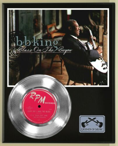 """BB King """"Everyday I Have the Blues"""" Silver Record Display Wood Plaque"""