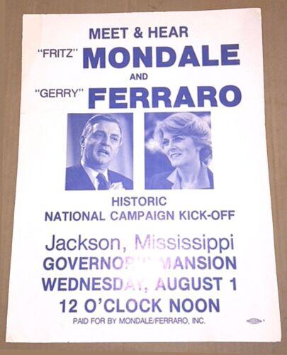 MONDALE - FERRARO POSTER—RARE ORGINAL—1st RALLY OF 1984 PRESIDENTIAL CAMPAIGN