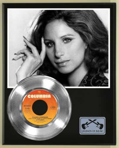 Barbara Streisand 45 Platinum Plated Record Display Wood Plaque. 02