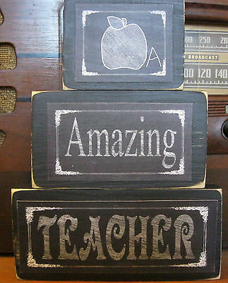 (Amazing Teacher Apple Primitive Rustic Handmade Stacking Blocks Wooden Sign Set)
