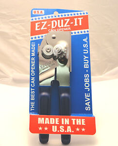 EZ-DUZ-IT #88 American Made Deluxe Can Opener.  Made in USA.  Blue.