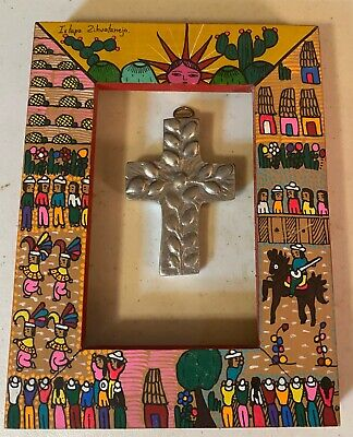 Vintage Mexican Folk Art Painted Frame And Pewter Cross~istapa Zihuantanejo