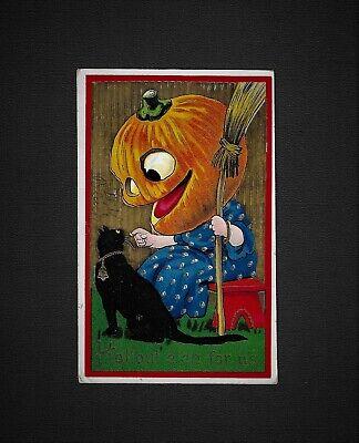 Cute Halloween Postcards (Vintage HALLOWEEN Gelatin Postcard Barton & Spooner)
