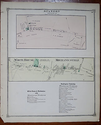 1873 MAP of STANTON - WHITE HOUSE & MECHANICSVILLE HUNDERTON CO NJ