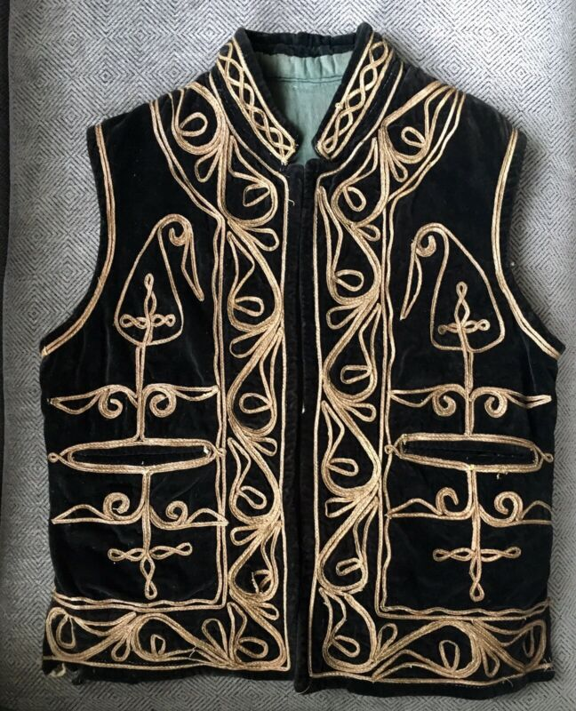 Antique Turkish Ottoman VEST Black Velvet Gold Cording Metallic Thread