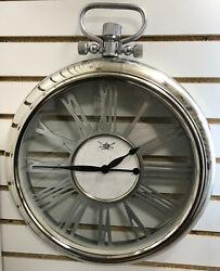 Round Pocket Watch Wall Clock, Roman Numerals