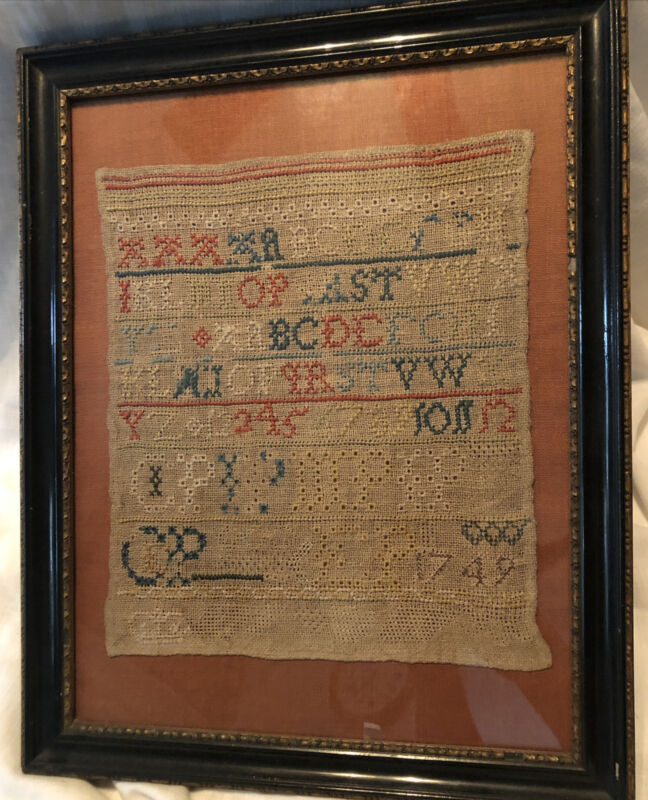 1749 Antique Schoolgirl Sampler Embroidery English Piece