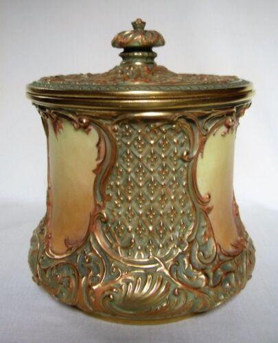 Antique Royal Worcester Porcelain Biscuit Jar