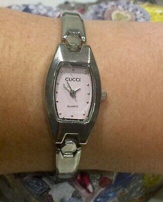 Vintage Ladies GUCCI 036L Quartz Watch-Pink Dial-All Stainless Case & Bracelet