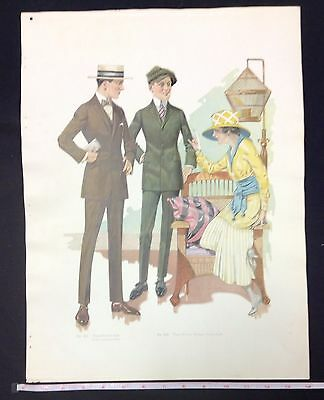1900s MALE CLOTHING FASHION SALESMAN SAMPLE PRINT ON DOUBLE  WEIGHT PAPER #a8