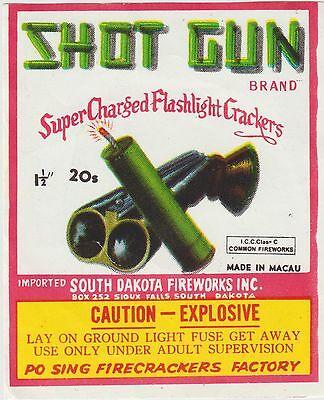 Vintage Shot Gun Brand Firecracker Pack Label South Dakota Fireworks Co.