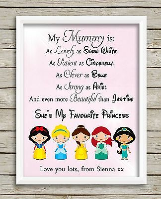 Disney Princess Mummy PRINT ONLY Mother's Day Gift Picture Personalised](Personalized Disney Princess Gifts)