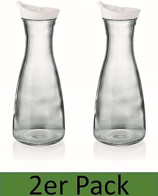 Karaffe 1l mit Deckel weiß 2er Set Dekanter Wasserkaraffe Glaskaraffe Krug Kanne Wasser Krug Mit Deckel