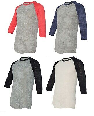Alternative Apparel Big League Burnout Baseball T-Shirt 3/4 Sleeve Size XS-L XL