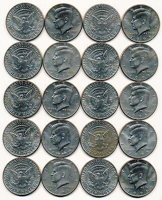 1995 P KENNEDY HALF DOLLAR ROLL 20 COINS $10 ROLL