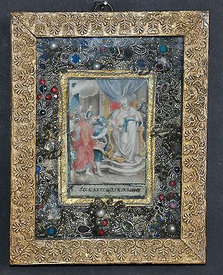 "Klosterarbeit ""Christus vor Kaiphas""?, ca. um 1820-1850, Aquarell, feinst"