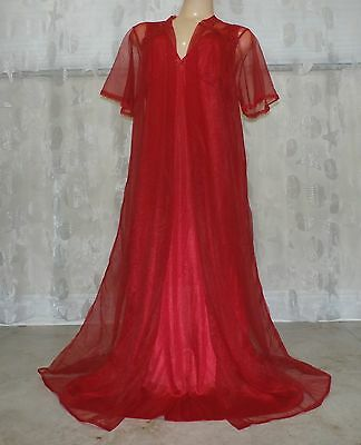 VINTAGE  NYLON NIGHTGOWN & SHEER PEIGNOIR / ROBE SET--38 / 40""