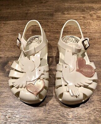 NWOB Mini Melissa Cream Dove Heart Vivienne Westwood Shoes Toddler Size 8