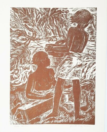 KAPA BEATERS 1952 HAWAIIAN FOLIO LITHO WOODCUT PRINT By JULIETTE MAY FRASER