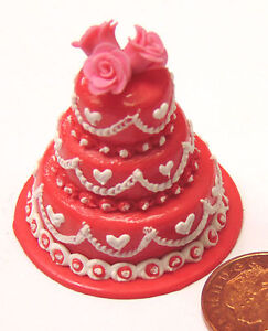 1-12-Scale-3-Tier-Red-Decorated-Wedding-Cake-Dolls-House-Miniature-Accessory-Q