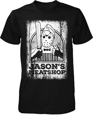 Jason Meat Shop T-Shirt Klassiker Kult Freitag Film 13. Movie Horror Halloween (Halloween Film T Shirts)