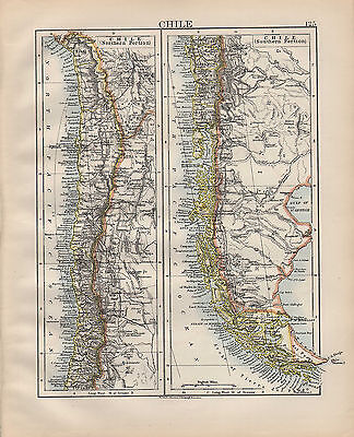1900 VICTORIAN MAP ~ SOUTH AMERICA CHILE ~ NORTHERN & SOUTHERN PORTIONS