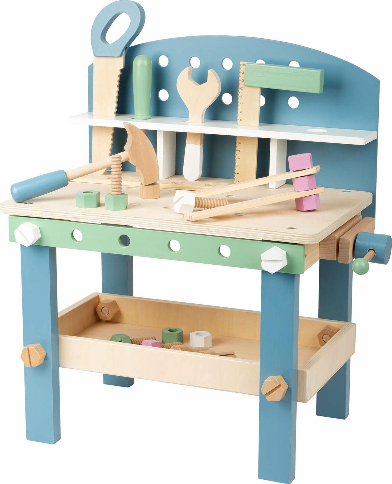 SMALL FOOT  Werkbank Nordic kompakt Kinderwerkbank Holz Arbeitstisch Kinder BUNT
