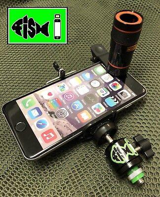 FiSH i Phone Holder Inc 8x Zoom Scope Lens Kit. Phone Holder For Fishing.