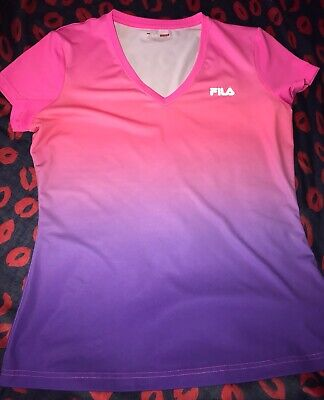 FILA Sport Ladies Womens Live In Motion Pink/purple, T-shirt Athletic Top Size L