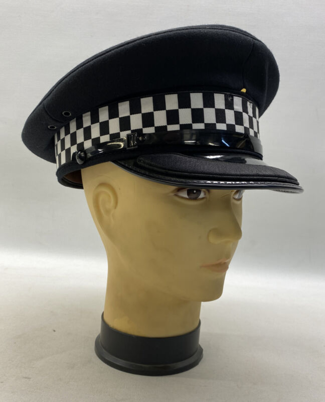 Genuine Ex Police Chief Inspector Peak Cap Black Wool Felt Uniform Theatre Duty