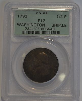 1793 Washington 1/2P Half Penny Ship LE Brown Old Holder Fine F12 PCGS Certified