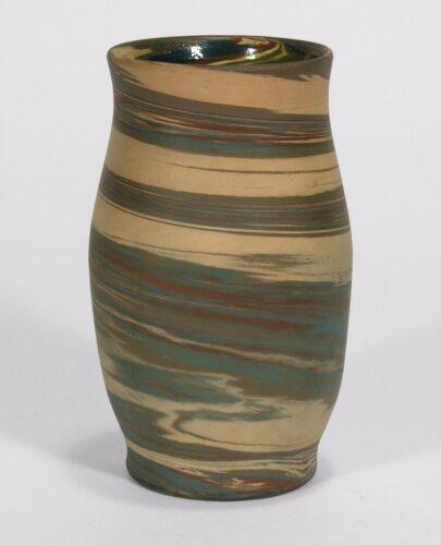 Niloak Pottery Mission ware matte blue green swirl arts & crafts southern vase