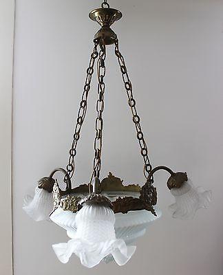 Jugendstil Deckenlampe mit 3 Tulpen & stufigem Pressglasschirm Bronze um 1900
