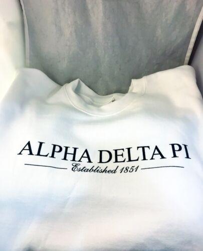 Alpha Delta Pi ADPI Sorority Crewneck Sweatshirt- White-Size Large- New!
