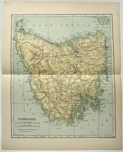 Original 1910 Map of Tasmania by Dodd Mead & Company. Australia