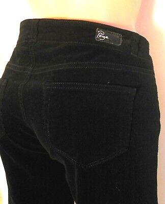 Paige Pants Velvet Look Black 26(actual 29X34) Women Low Rise Boot Cut 5 Pocket  Velvet 5 Pocket Pants