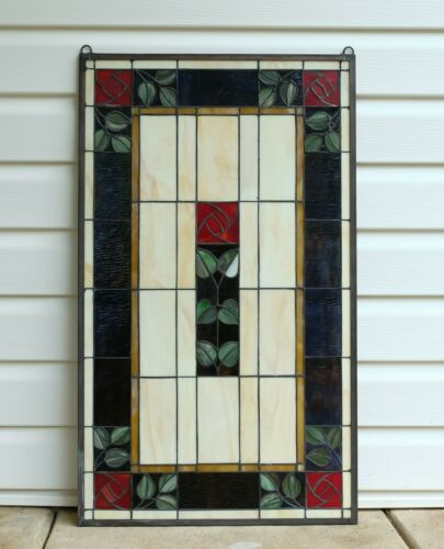 "20.5"" x 34.75"" Large Handcrafted stained glass window panel Rose Flower!"