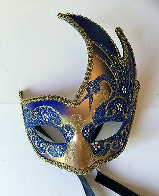 Blue/Gold Glittered Masquerade Mask/Balls/Fancy Dress/Haloween/HenNight Party - Haloween Clothes