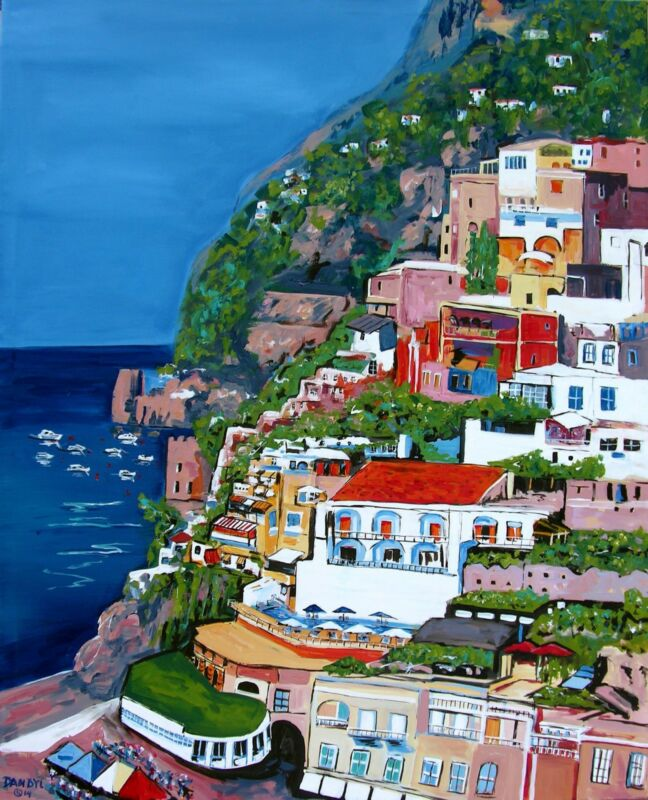 Positano Italy Original Art Painting Artist Dan Byl Acrylic Huge 60 Inches X 48